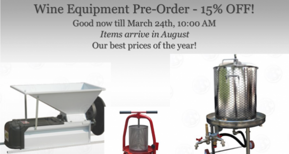2017 Wine Equipment 15% off Pre-Order
